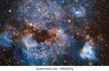 A maelstrom of glowing gas and dark dust within one of the Milky Way satellite galaxies, the Large Magellanic Cloud (LMC), Elements of this image are furnished by NASA.