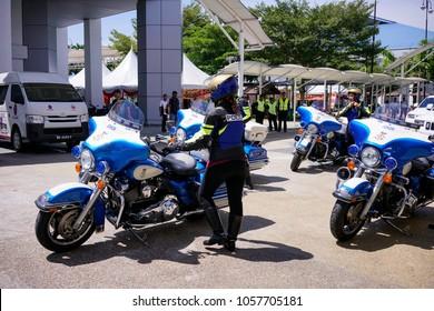 Maeps, Malaysia - March 23, 2018 : The Sultan of Johore motorcycle escort uses Harley Davidson Electra Glide Standard Police at Malaysia Bike week jamboree 2018 in Serdang Malaysia.