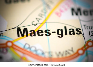 Maes-glas on a geographical map of UK - Shutterstock ID 2019635528