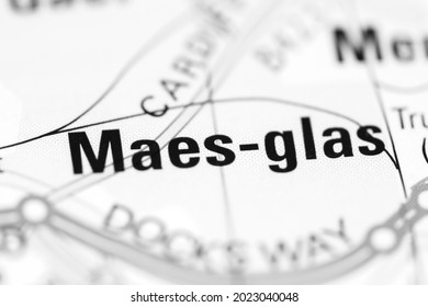 Maes-glas on a geographical map of UK - Shutterstock ID 2023040048