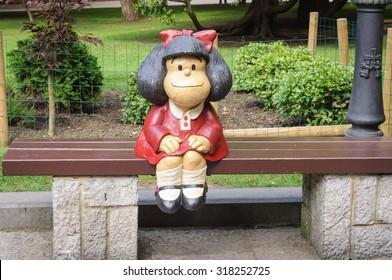 Mafalda Sculpture in San Francisco Park in Oviedo (Asturias)