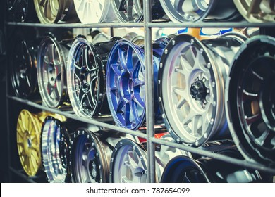Mag wheel for car on the shelf. Magnesium alloy wheel.Car Accessories.