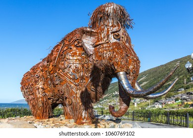 Magadan, Russia - August 27, 2016: Mammoth monument, made of various metal scrap in Magadan.