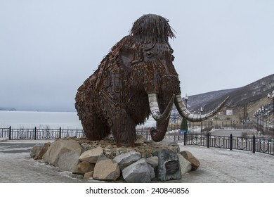 MAGADAN, RUSSIA - DECEMBER 22: Mammoth monument, made of various metal scrap on December 22, 2014 in Magadan.