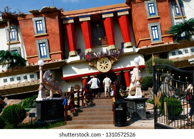 """Magaluf, Mallorca, Spain - October 12, 2007: frontal view of the theme park """"Katmandu"""", crazy house that stands on its roof"""