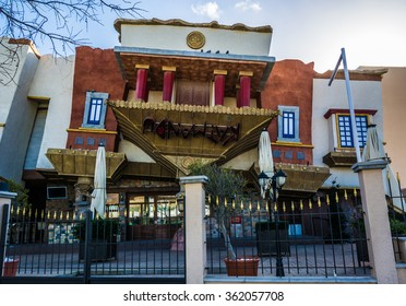MAGALUF, SPAIN - Feb 2, 2014: Katmandu Park and Resort tourism attraction  Magaluf in Southwest area popular by wealthy tourists, English German and Spanish, ideal for weekend trips