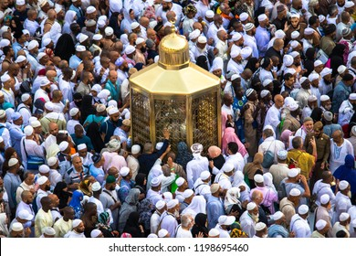 Magam Ibrahim. Maqam Ibrahim. Muslim pilgrims walk pass by a Abraham sacred place - Makam Ibrahim. MECCA, SAUDI ARABIA - 25 August, 2018
