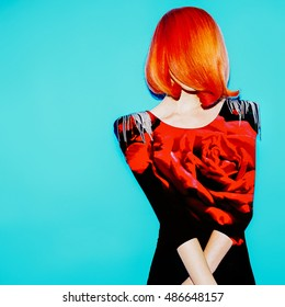 Magazine collage art. Sensual Model. Style Hair. Hair and Roses. Red Color trend.