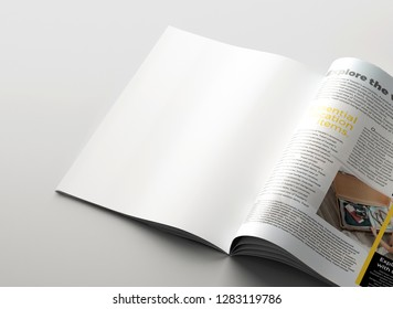 Magazine mockup background concept. Clean page background. 3D rendering.