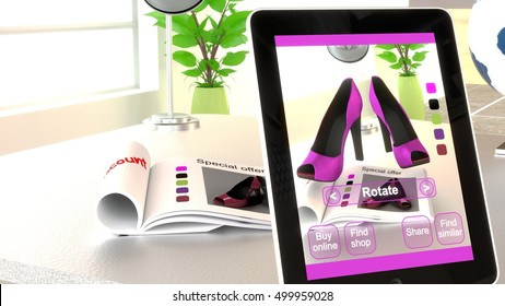 Magazine on an office desk seen through an app on a tablet with different shopping options  augmented reality concept 3D illustration