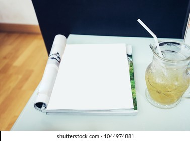Magazine page,Blank page on table.