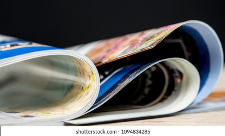 Magazine pages flipping close up