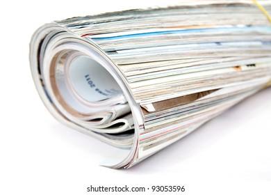 Magazine roll isolated on white background