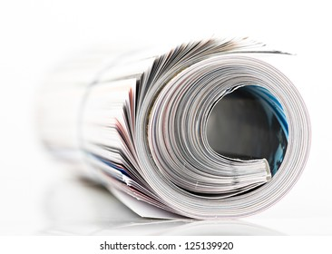 magazine roll on white background