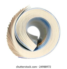 Magazine in a roll on a white background.