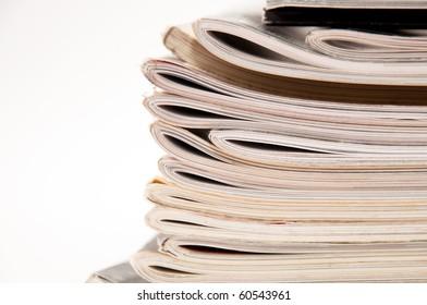 Magazine stack, close up image
