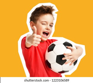 Magazine style collage of sport boy kid player hold soccer ball celebrating show thumbs up happy smiling laughing free text copy space  on yellow background