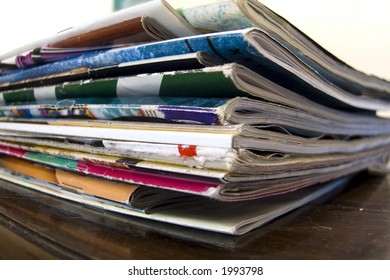 magazines on table