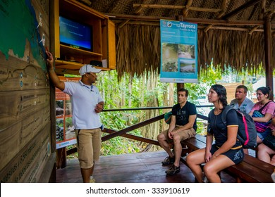 MAGDALENA, COLOMBIA - FEBRUARY 20, 2015: Unknown tourists visiting Tayrona National Natural Park