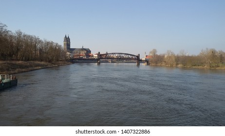 Magdeburg Cathedral seen from the river Elbe, Magdeburg Germany 2018