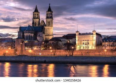 Magdeburg Cathedral at sunset