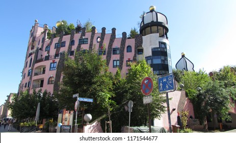 Magdeburg, Germany /08.11.18/ The Hundertwasserhaus (The Green Citadel of Magdeburg) designed by Austrian artist Friedensreich Hundertwasser