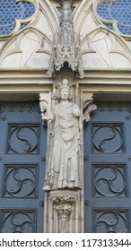 Magdeburg, Germany /08.11.18/ statue of St. Elizabeth on the facade of the church in Magdeburg, Germany