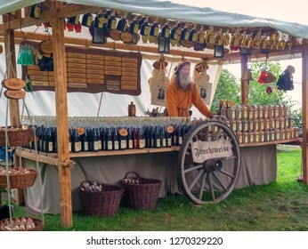 Magdeburg, Germany - 29.08.2014: Kaiser-Otto-Fest. Inscriptions: fruit wines and liquors according to historical medieval recipes. Reconstruction of historical events of the city Magdeburg, Germany