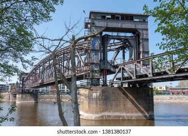 Magdeburg, Germany - April 24, 2019: View of the lift bridge in Magdeburg, an old railway bridge from 1846.