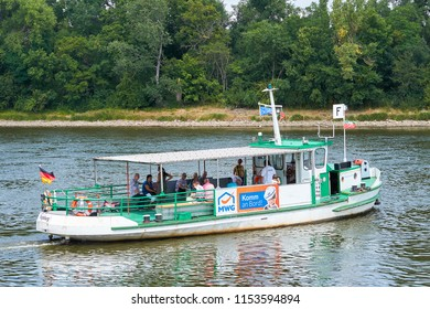 MAGDEBURG, GERMANY – AUGUST 07, 2018: Ferry over the river Elbe in Magdeburg. The ferry connects the Buckau district with the city park.