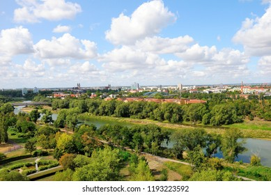 Magdeburg, Germany - August 26, 2018 - View of Magdeburg from the Elbauenpark