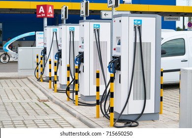 MAGDEBURG, GERMANY – AUGUST 31, 2017:  modern power service station in the parking lot of an Ikea store in Magdeburg