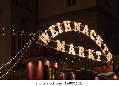 Magdeburg, Germany - December 1, 2018: View of the entrance to the Christmas market in Magdeburg, Germany.