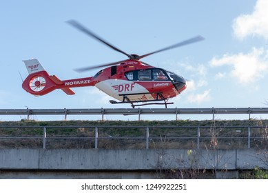 Magdeburg, Germany - December 4, 2018: The rescue helicopter Christoph 36 takes off after an accident near Magdeburg, Germany. The helicopter belongs to the German Air Rescue Foundation (DRF).