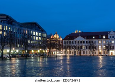 Magdeburg, Germany - December 6, 2018: View of the Hundertwasserhaus and the parliament building in Magdeburg at Christmas time, Germany.