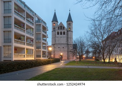 Magdeburg, Germany - December 6, 2018: View of the monastery Unser Lieben Frauen in Magdeburg, Germany.