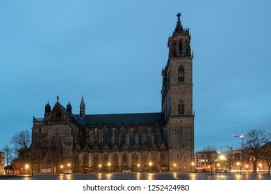 Magdeburg, Germany - December 6, 2018: View of Magdeburg Cathedral at Christmas time, Germany.