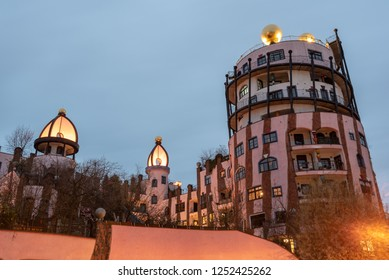 Magdeburg, Germany - December 6, 2018: View of the Hundertwasserhaus in Magdeburg at Christmas time, Germany.