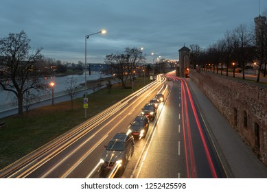 Magdeburg, Germany - December 6, 2018: Rushhour on the Schleinufer in Magdeburg near the Elbe, Germany.