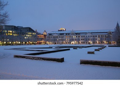 Magdeburg, Germany - January 17, 2018: The Cathedral Square of Magdeburg in winter. With the Hundertwasserhaus, the state parliament and the Norddeutsche Landesbank.