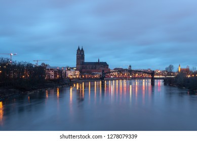 Magdeburg, Germany - January 8, 2019: View of the cathedral and the banks of the Elbe in Magdeburg at dawn, Germany.