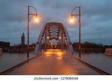 Magdeburg, Germany - January 8, 2019: View of the star bridge of Magdeburg, Germany.