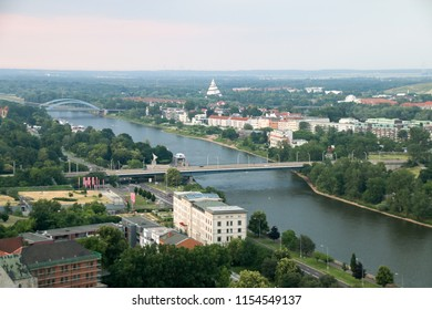 Magdeburg, Germany - June 9, 2018: View from the tower of Magdeburg Cathedral to the Elbauenpark in Magdeburg, Germany.