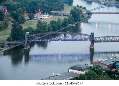 Magdeburg, Germany - June 9, 2018: View from one of the towers of Magdeburg Cathedral to the river Elbe and the famous lift bridge in Magdeburg, Ge