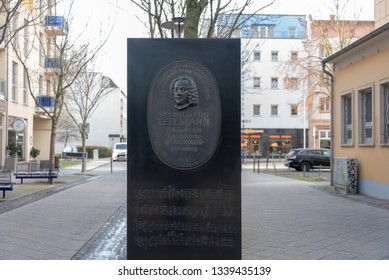 Magdeburg, Germany - March 12, 2019: View of a commemorative plaque for the composer Geord Phillip Telemann in Magdeburg, Germany.