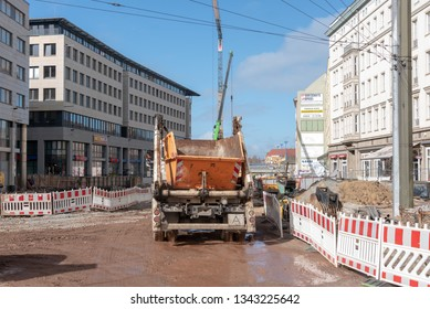 Magdeburg, Germany - March 19, 2019: View of the tunnel construction site at Magdeburg Central Station. A large tunnel is currently under construction here, which will run under railway tracks.