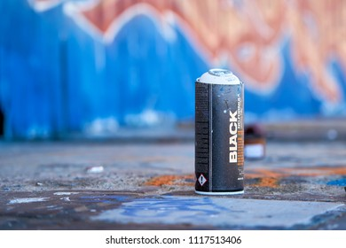 MAGDEBURG, GERMANY – MAY 20, 2018: Spray Can on an abandoned company site in Magdeburg which is used by graffiti artists