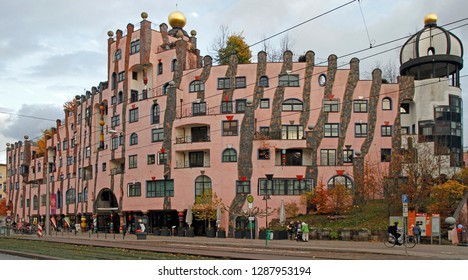 Magdeburg, Germany - November 13, 2018: The Green Citadel of the german city Magdeburg designed by Austrian artist Friedensreich Hundertwasser