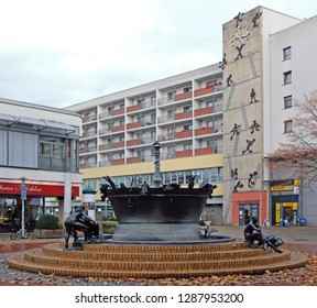 Magdeburg, Germany - November 13, 2018: pictureque fountain in the german city Magdeburg