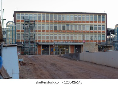 Magdeburg, Germany - November 16, 2018: View of the side exit of the main station in Magdeburg, Germany.